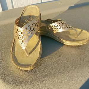 Italina Gold Sandals With Rhinestones